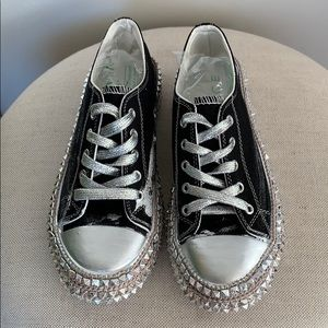 Scarpi's Black/Silver Studded Sneakers